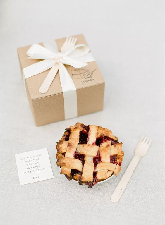 cute mini pies are great wedding favors