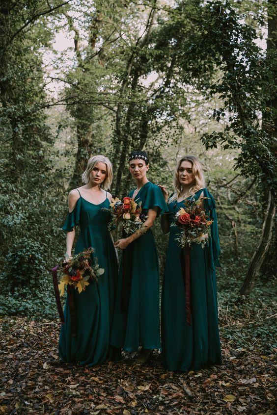 mismatching green maxi bridesmaid dresses are great for a modern or boho fall wedding