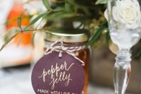 pepper jelly is a very cool and creative fall edible favor idea, you make it yourself or order at some local business