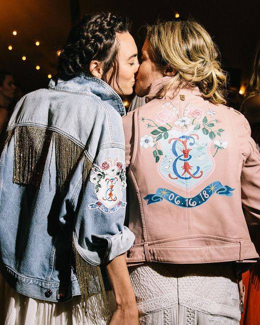 personalized bridal jackets - a blue applique denim one with logn gold fringe and a pink leather one with handpainting