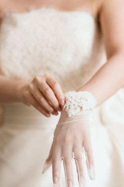 sheer bridal gloves with lace are amazing for any bridal look, they won't keep you warm but will make your outfit sophisticated