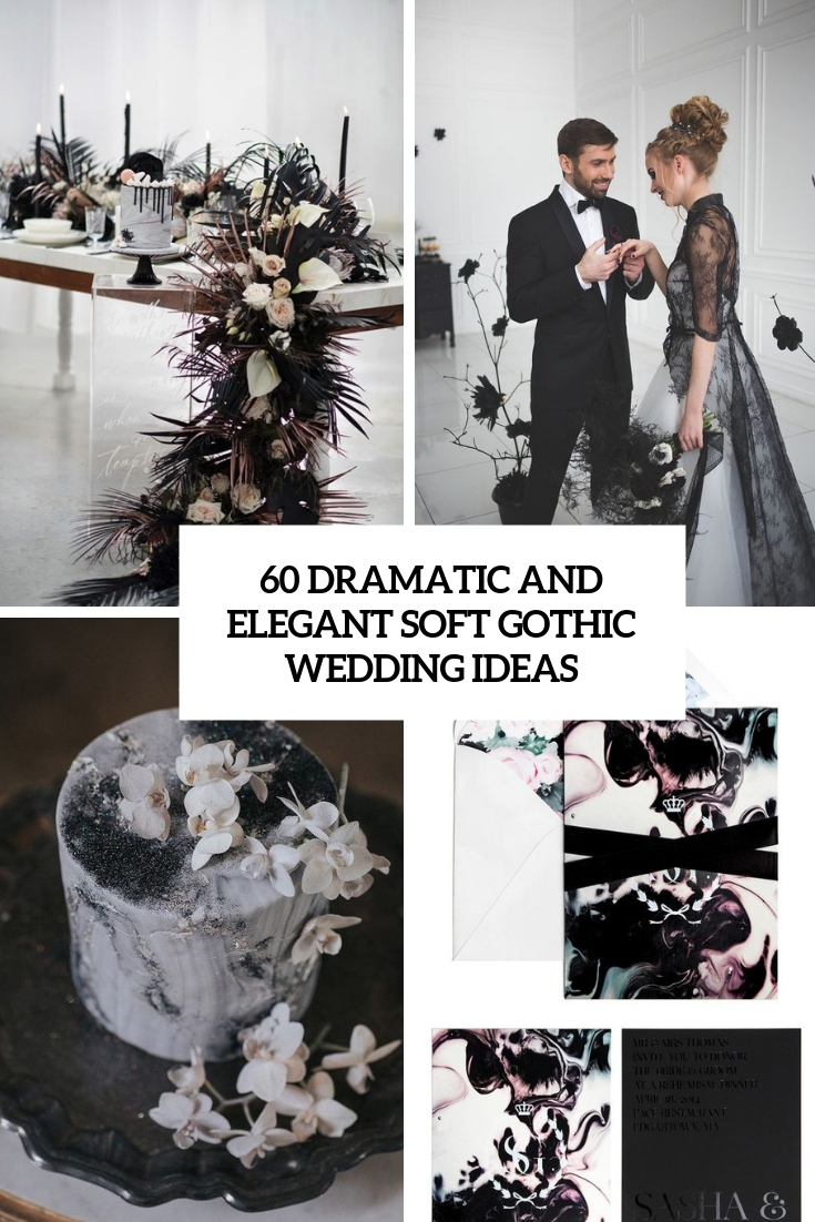 dramatic and elegant soft gothic wedding ideas cover