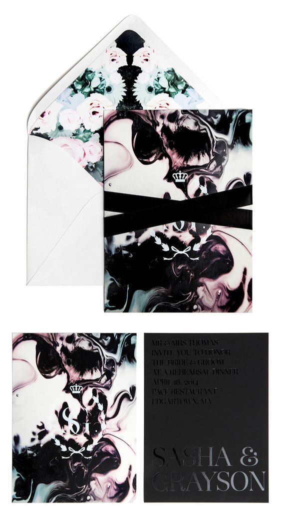 a chic black and white plus watercolors and blooms wedding invitation suite with black velvet ribbons