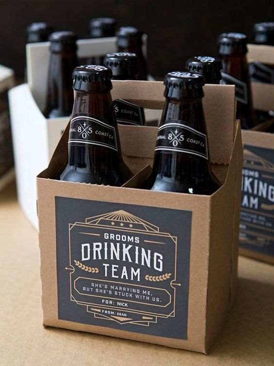 a personalized cardboard holder with beer bottles will be an amazing groomsmen idea for your friends, everyone will like it