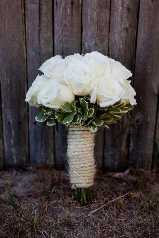 a rope bouquet wrap is great for a beach or coastal wedding bouquet and is easy to make