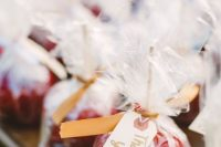 apples are traditional fall wedding favors and they will easily fit a Halloween wedding, too