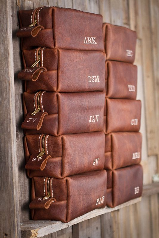 brown leather organizers with monograms for various small stuff are ideal groomsmen gifts that are necessary for absolutely everyone
