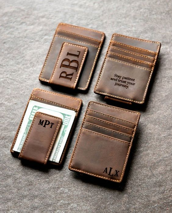 personalized leather magnetic money clips are great and non-hacky groomsmen gift idea