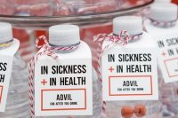 water bottles and Advil pills are perfect wedding favors for those who love to party hard