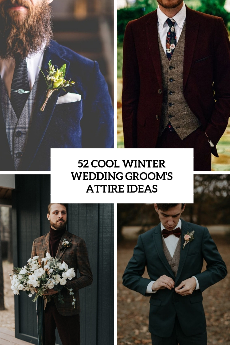 cool winter wedding groom's attire ideas cover