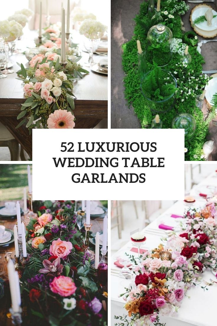 luxurious wedding table garlands cover