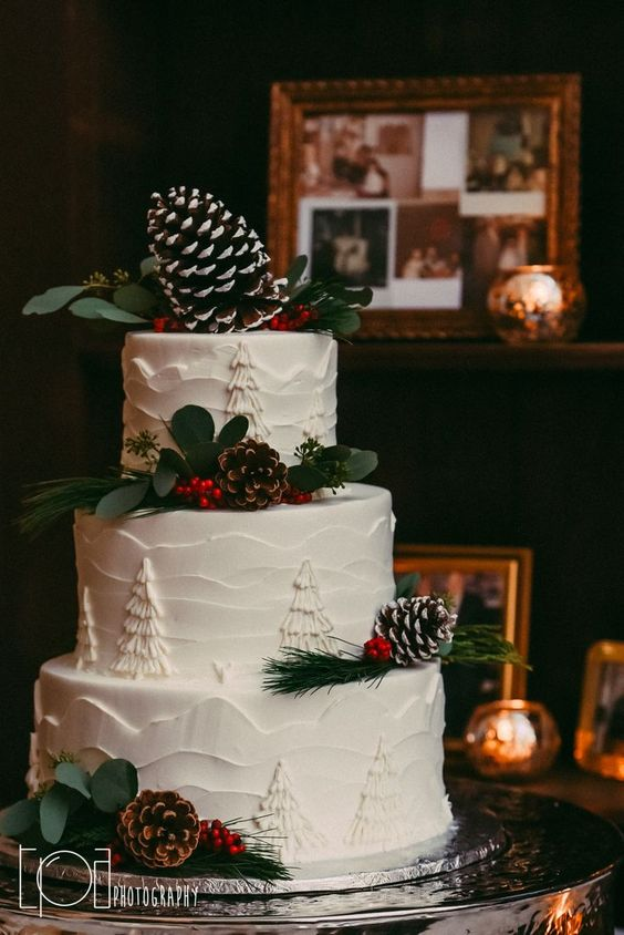 a Christmas wedding cake with painted and textural tiers, greenery, berries, snowy pinecones is a stylish holiday-like idea