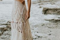 a boho beach A-line wedding dress with spaghetti straps and various patterns is a lovely idea for a laid-back beach bride
