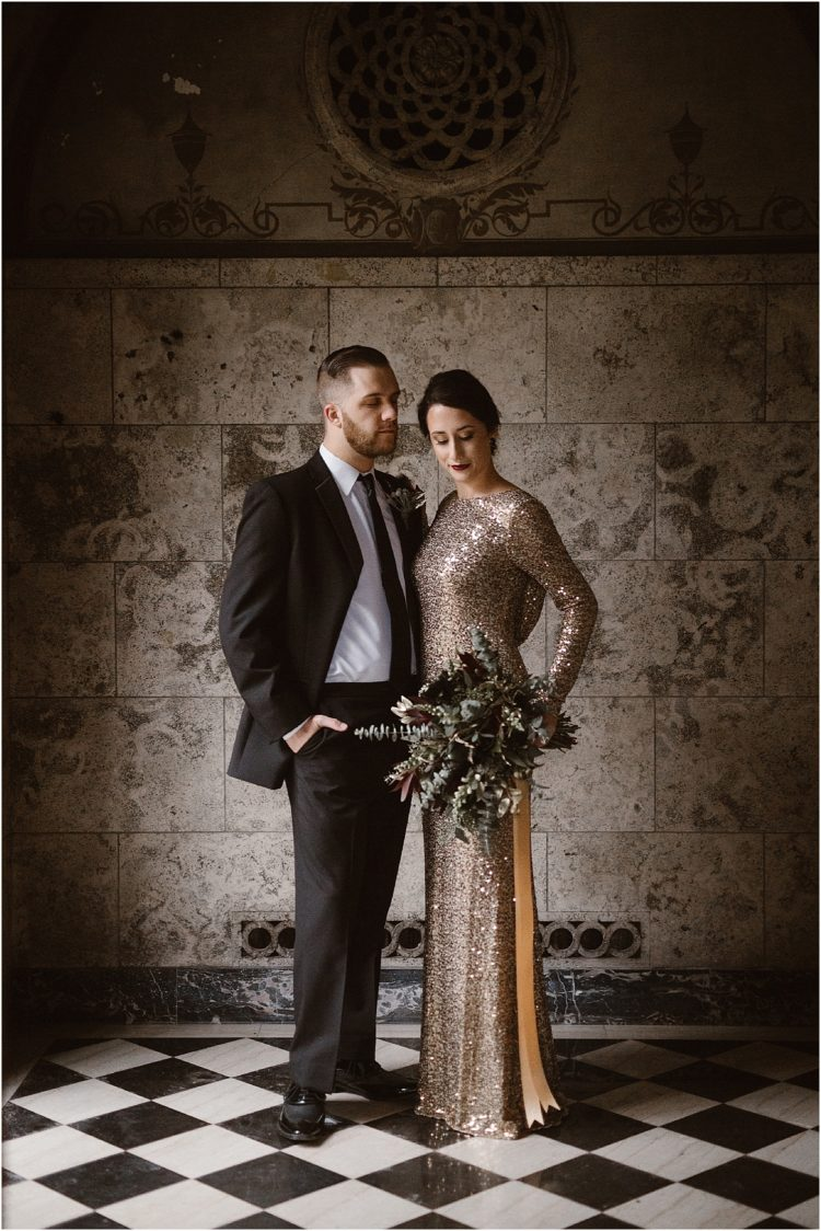 a copper sequin wedding dress with long sleeves, a high neckline and a shawl back