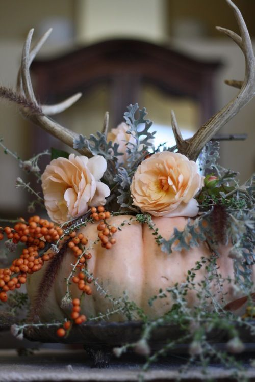 a fall wedding centerpiece a blush pumpkin, peachy blooms, pale greenery, berries and antlers on top is very cool