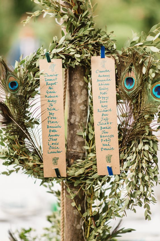 a greenery wreath with a seating chart and peacock feathers for unique and very catchy decor