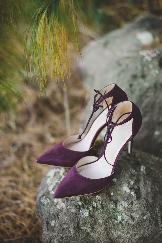 elegant suede purple wedding shoes with laces look very refined and very chic