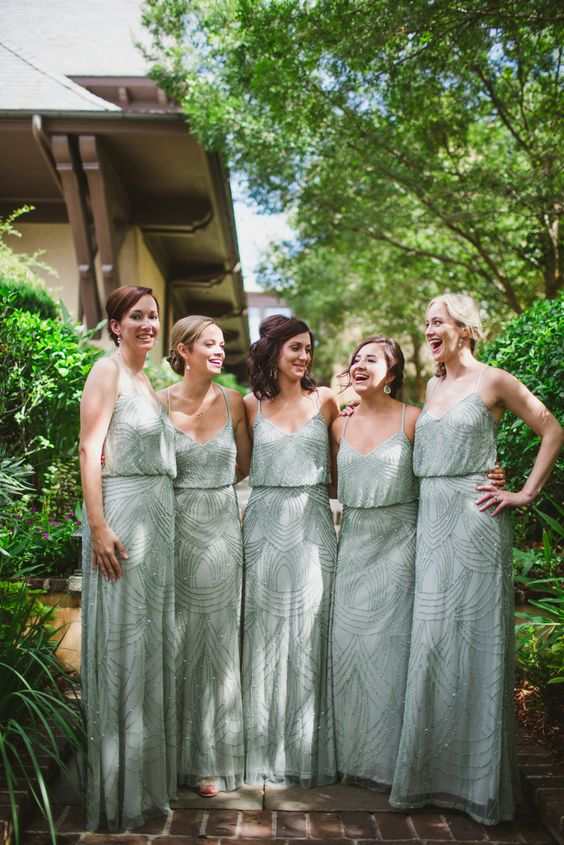 gorgeous mint-colored fully embellished bridesmaid dresses on spaghetti straps for spring or summer bridesmaids