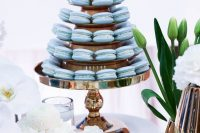 ice blue macarons and cupcakes will be a nice solution for your winter wedding dessert table