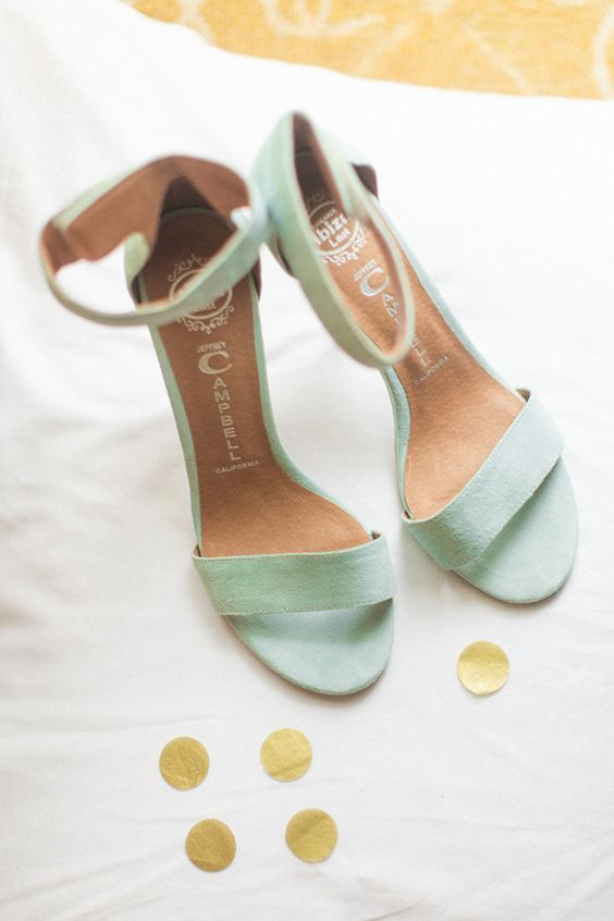minimalist mint-colored wedding shoes with ankle straps are a timeless pair to rock