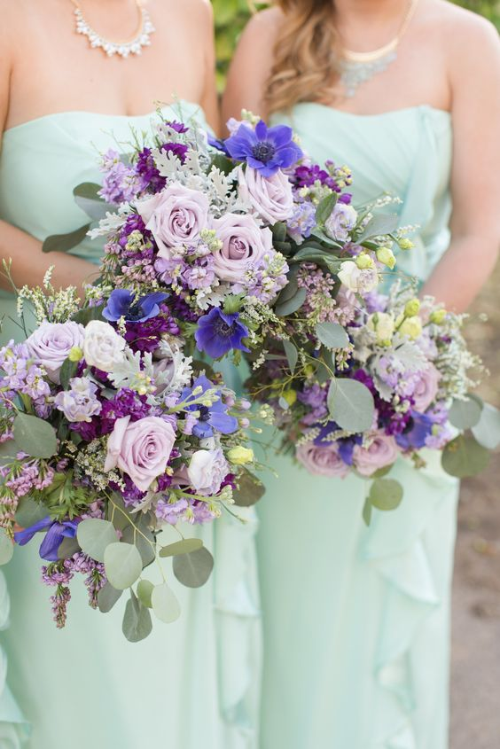 strapless draped maxi bridesmaid dresses and lush purple, lavender and mint wedding bouquets for a chic wedding