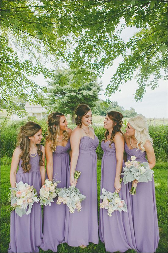strapless purple maxi bridesmaid dresses and mint and blush colored wedding bouquets