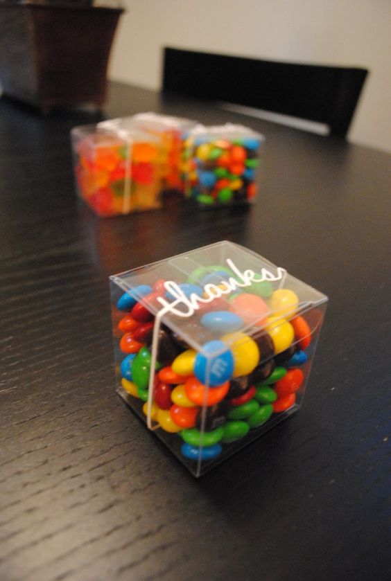 M&Ms candies in boxes are timeless Christmas wedding favors and they can be also rocked for other weddings, too