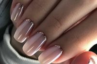 blush nails with rose gold glitter are beautiful and very glam, any bride or bridesmaid can rock them