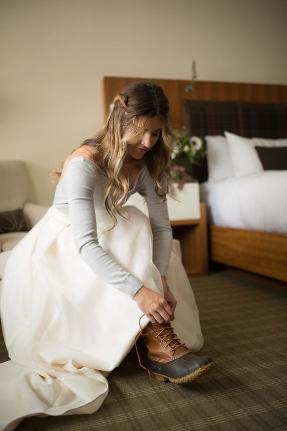 brown duck boots can be a nice option for a rainy or snowy wedding in winter