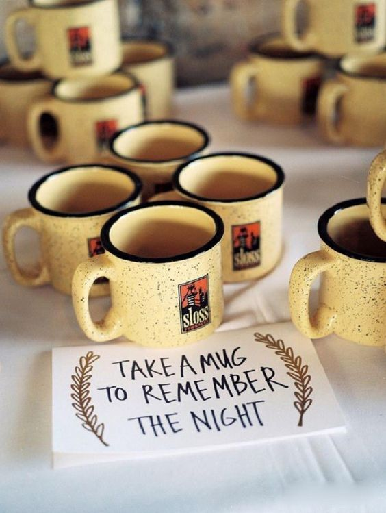 camp mugs can be given as favors at a Christmas camp wedding or they can be used at many other weddings, too