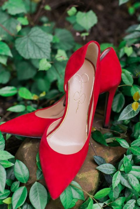classic red suede heels look stunning and will add a chic traditional touch to your Christmas bridal look