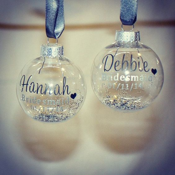 cool sheer personalized Christmas ornaments filled with glitter are lovely and budget friendly favors