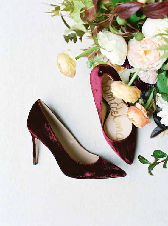 cranberry velvet heels are amazing for a colorful and textural touch, and this color is great to stand out in pale winter colors