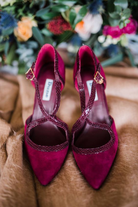 fantastic fuchsia shoes with snake leather edges and X straps are a great statement in your look