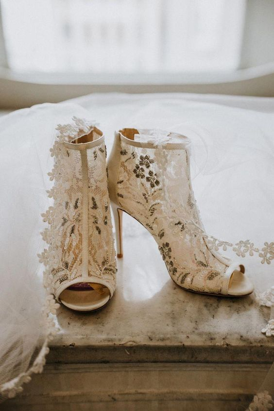 fully embellished floral peep toe booties will fit any bridal look - from a summer to a winter one