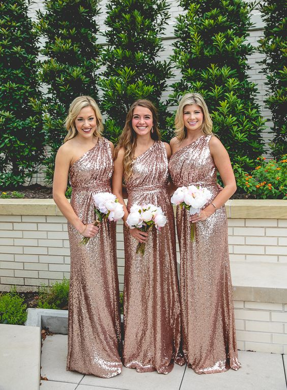glam rose gold one shoulder maxi bridesmaid dresses with draped bodices are beautiful and romantic