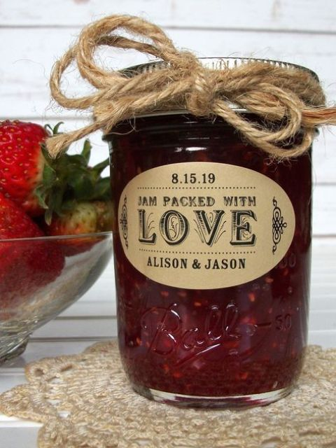 homemade jam in a jar, with twine and tag is a homey and delicious Christmas wedding favor idea