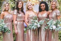 mismatching bridesmaids' looks in rose gold sequins are lovely, chic, bold and very romantic