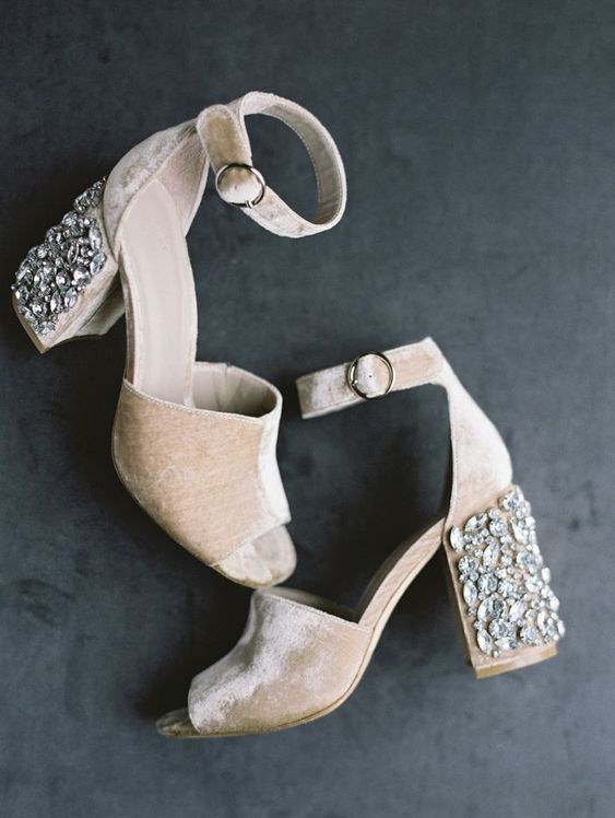 neutral velvet shoes with heavily embellished block heels are both comfortable and refined