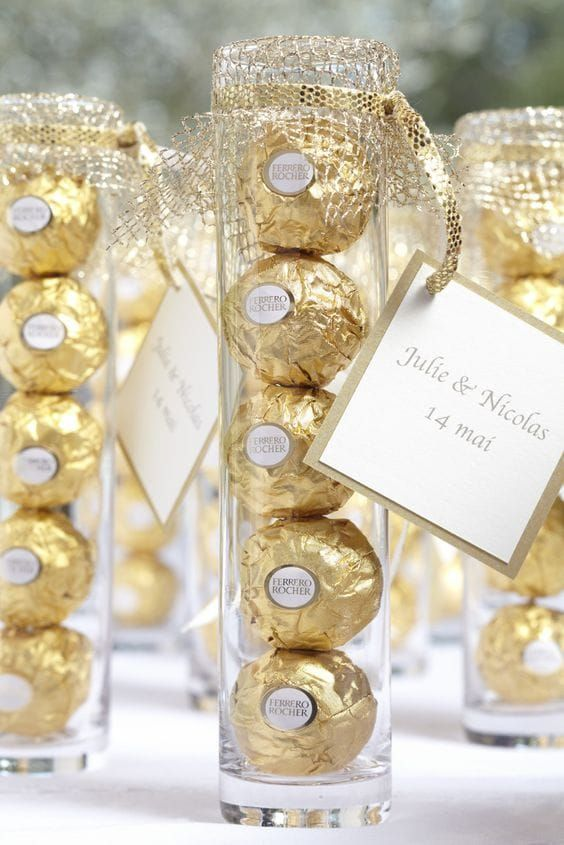 packed Ferrero Rocher chocolate as wedding favors is an amazing idea for each wedding, such favors are crowd-pleasing