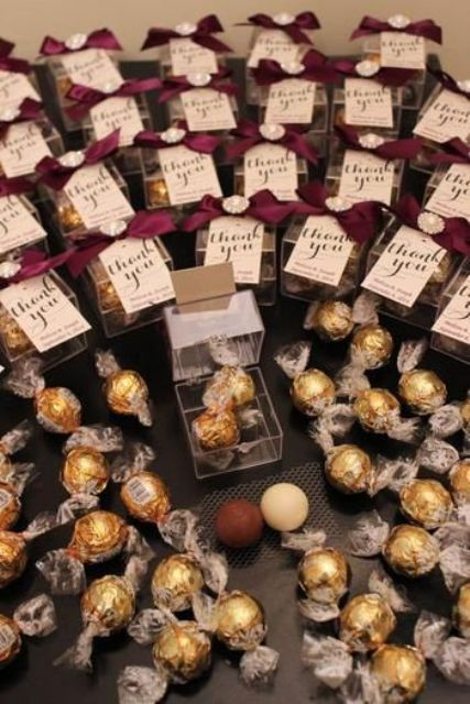 personalized chocolate packs are always a good idea for wedding favors, they easily fit any wedding style and theme