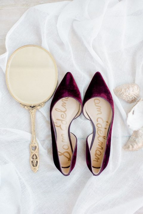 plum-colored pointed toe flats are a warm and comfortable option with a sumptuous touch of color