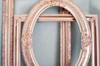 refined rose gold picture frames will give a romantic and refined look to your wedding