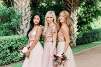 romantic bridesmaid looks with rose gold tops and light pink tulle maxi skirts are very lovely and chic