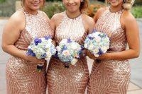 rose gold geometric halter neckline sheath bridesmaid dresses are statement, bold and sexy