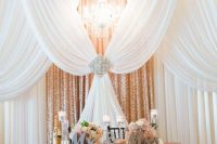 rose gold sequin curtains and linens will glam up any reception or ceremony space making it sparkly and bright