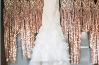 rose gold thick strap draped bridesmaid dresses will make the bridal party very glam and very chic