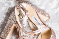 rose gold wedding block heels for a glam, sparkly and shiny bridal look