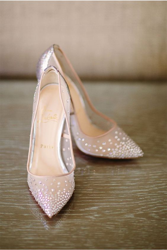 sheer blush heels with rhinestones all over for a glam bridal look, they will add a shiny touch