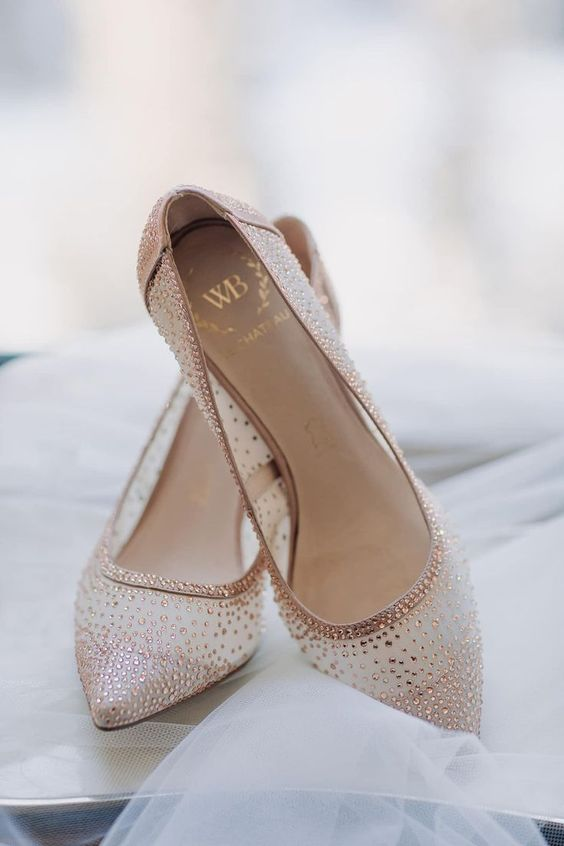 sheer wedding shoes with rose gold rhinestones for a glam, chic and bold bridal look